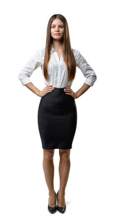 dress code: Front view of cutout businesswoman looking directly at the camera. Successful lifestyle. Business staff. Office clothes. Dress code. Presentable appearance. Beauty and youth.