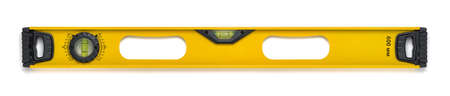 liquid level: Yellow building level with liquid indicator. Measuring instrument. Used for measuring at building and reconstruction. Cut-out object.