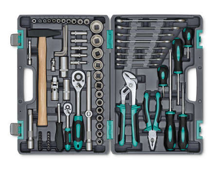 mend: Close-up open toolbox. Construction instruments and tools. Set of tools. Compact tool box. Mend and repair. Universal tool for installers. Home tool kit. Everyday instruments. Work stuff. Stock Photo