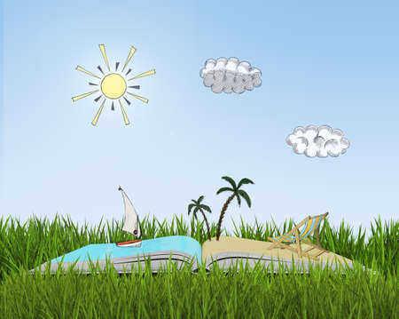 fresh air: Model of an open book on grass with sketch of beach. Book - the key to success and internal development. Holiday and vacation. Summer rest. Fresh air. Relax.