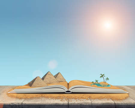 desert oasis: Sketch of the pyramids and oasis in the desert over open book. Book - the key to success and internal development. Sign and symbol. Architectural monuments of Ancient Egypt. Oasis in the desert.
