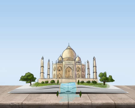 spiritual architecture: Open book with a sketch of the Taj Mahal on top of it. Inner and spiritual wealth. Book - the key to success and internal development. Sign and symbol. Architecture could style. Stock Photo