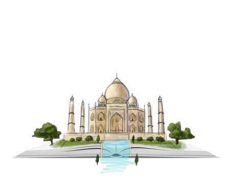mausoleum: Taj Mahal on an open book hand drawn illustration on white background. Marble mausoleum. City of Agra. Palace in India. Imagination. Travelog. Book is the source of knowledge.