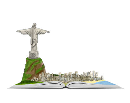 cristo: City of Rio de Janeiro and Christ the Redeemer on an open book hand drawn illustration isolated on white background. World heritage. Christian monument. Book about Brazil. Source of knowledge.