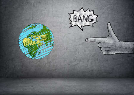 making earth: Hand drawn planet Earth and male hand making a shooting gesture in front of it with bang sound on a concrete background.