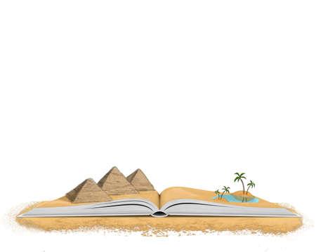 Open boek met piramides en palmbomen omgeven door woestijnzand in een concept van de reis planning en informatie aan bekende bestemmingen, op wit met een kopie ruimte