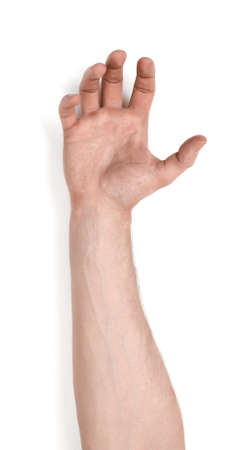Grasping hand of a man isolated on white background. Stock Photo