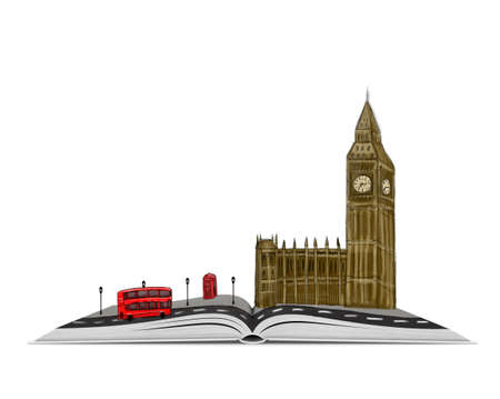 it is isolated: An open book with a sketch of London on the top of it isolated on white background.