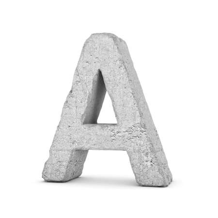 3D rendering concrete letter A isolated on white background.