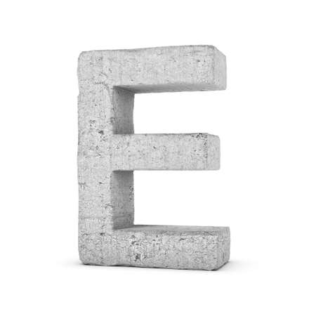3D rendering concrete letter E isolated on white background.