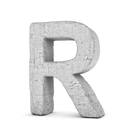 3D rendering concrete letter R isolated on white background.