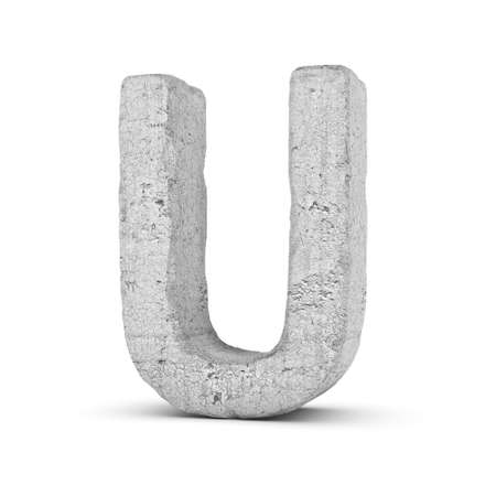 3D rendering concrete letter U isolated on white background. Banco de Imagens