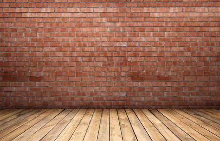 brick floor: Red brick wall and wooden floor.