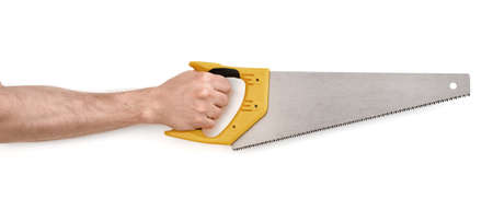serrucho: Close-up view of a mans hand with a handsaw, isolated on white background.
