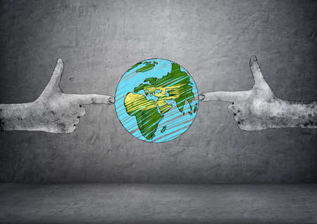 making earth: Planet Earth between two hand drawn hands making shooting gesture. Environmental damage. Human influence. Pollution and contaminating. Ecological problems. Stock Photo