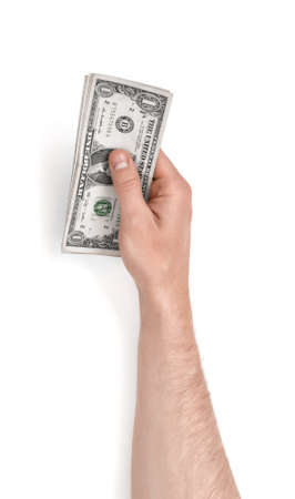 Close up view of a mans hand holding one dollar bills isolated on white background.