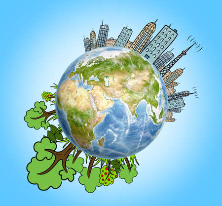 Planet Earth with drawn houses, skyscrapers, buildings and trees around it. Ecological problems. Air pollution. Environmental crisis. Big city life. Stock Photo