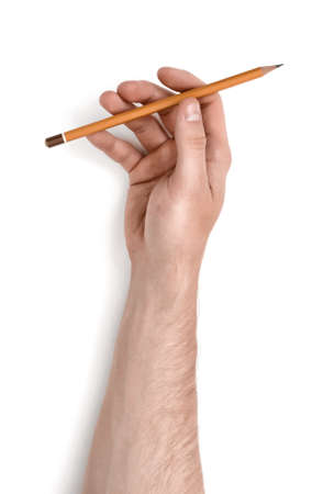 hand rubbing: Close up view of a mans hand holding a pencil isolated on white background. Erasing and rubbing off. Drafting equipment. Art and inspiration.