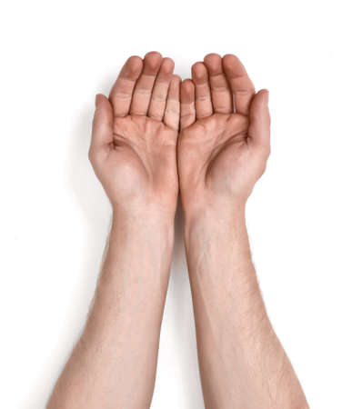 seize: Grasping hands of a man, isolated on white background. Holding gesture. Body language. Grasping and grabbing. Stock Photo