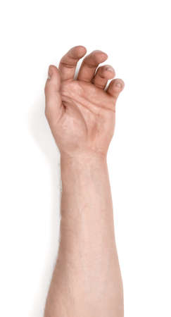 grasping: Grasping hand of a man isolated on white background. Holding gesture. Body language. Grasping and grabbing. Stock Photo