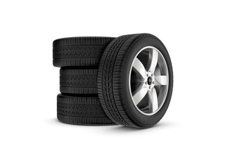 caoutchouc: 3d rendering black wheels with one in profile isolated on white background. Rubber and caoutchouc. Transport and Transportation. Stock Photo