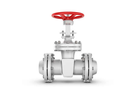 sewerage: 3d rendering metal valves isolated on white background. Water supply and sewerage system. Oil and Gas. Energy facilities. Housing and communal services.