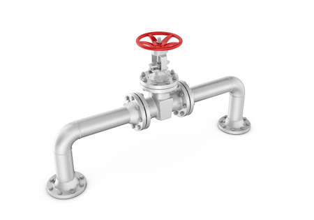 sewerage: 3d rendering metal valve on curved pipe, isolated on white background. Water supply and sewerage system. Oil and Gas. Energy facilities. Housing and communal services.