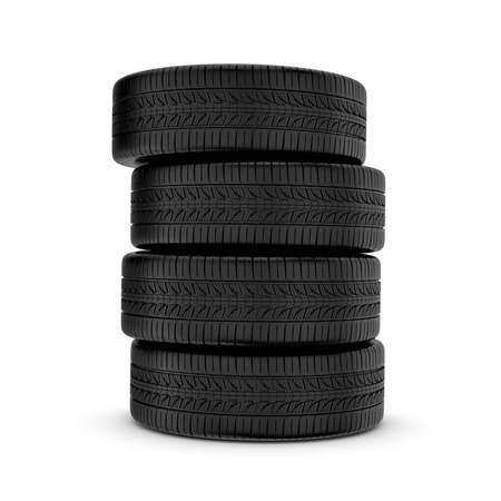 traction: 3d rendering black tires, isolated on white background. Rubber and caoutchouc. Transport and Transportation. Stock Photo