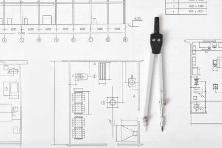 Engineering Compass Is On Building Plan Workplace Of Architect Constructor Designer In Top