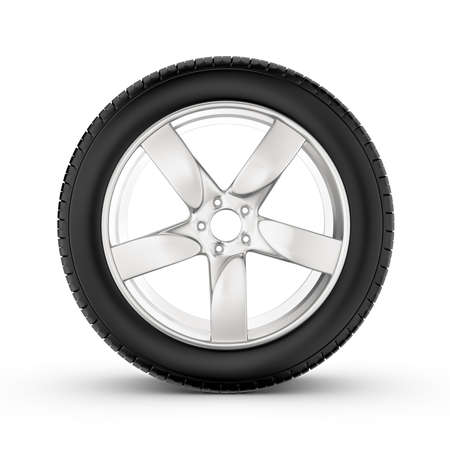 caoutchouc: 3d rendering of wheel with one in profile isolated on white background. Rubber and caoutchouc. Transport and Transportation.
