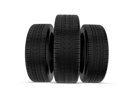 caoutchouc: 3d rendering black tires, isolated on white background. Rubber and caoutchouc. Transport and Transportation. Stock Photo