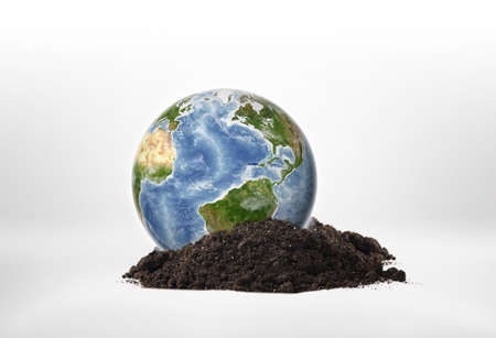 environmental issues: Close-up planet Earth on a ground. Environmental issues. Natural resources. Ecosystem. Elements of this image are furnished by NASA.