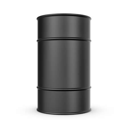 recourses: 3d rendering of black barrel isolated on a white background. Petroleum recourses. Oil production. Fabrication of gasoline. Stock Photo
