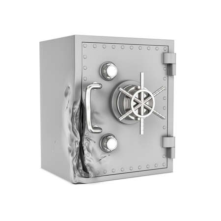 pry: 3d rendering of a damaged safe box isolated on a white background. Attempting to crack. Using brute force methods to open. Trying to rob money and value