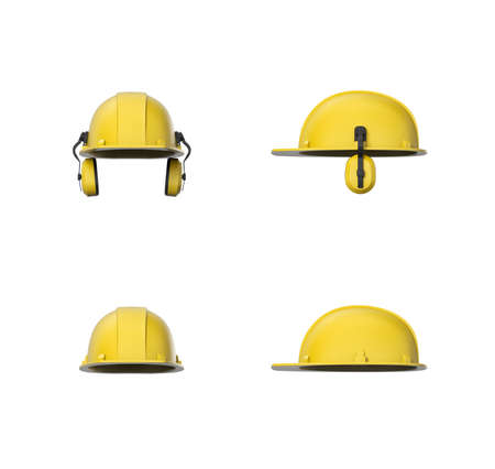 protectors: 3d rendering set of yellow hard hat or construction helmet with ear protectors isolated on a white background. Wearing a worker helmet. Industrial and construction sites. Workwear and safety gear. Personal protective equipment.