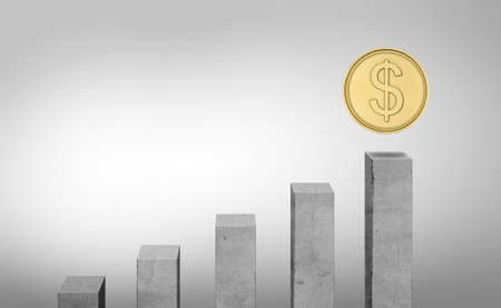 ascending: 3d rendering of grey columns standing in ascending order and a coin above the highest one. Steps to profit. Making money. Successful business diagram. Stock Photo