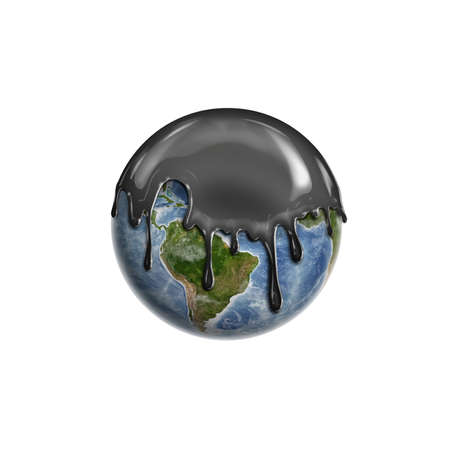 Black liquid leaking on a tine Earth isolated on the white background. Oil industry. Nature damaging. Natural catastrophes. Elements of this image are furnished by NASA.
