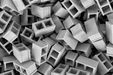 masonary: 3d rendering of a huge amount of gray cinder blocks lying together in disorder, top view. Building materials. Construction industry. Renovation of premises.