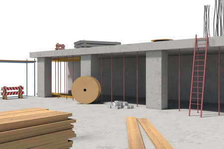 civil construction: 3d rendering of building under construction on the white background. Modern housebuilding. Construction technology. Civil engineering work.