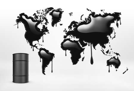 3d rendering of geographical mapcolored in black and a oil barrel on the white background. Natural catastrophies. Oil industry. Pollution all over the world.