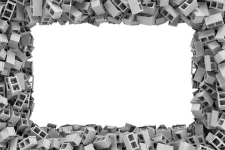 masonary: 3d rendering of a rectangular frame made of gray cinder blocks lying at the edges with white empty space in the middle. Building materials. Construction industry. Renovation of premises.