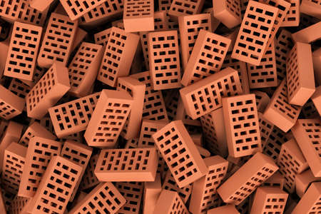 masonary: 3d rendering of a huge amount of red face bricks lying together in disorder, top view. Building materials. The construction industry. Renovation of premises. Stock Photo
