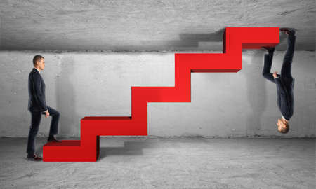 lows: Two businessman climb one red ladder from different sides Its all relative. Highs and lows. Enterprise life cycle.