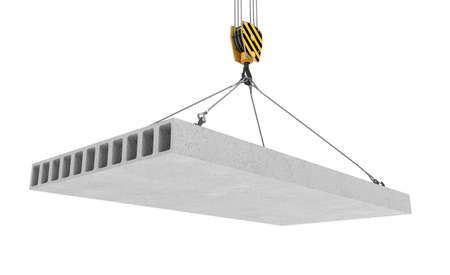 lading: 3d rendering of concrete slab hanging on a hook with four ropes isolated on the white background. Building industry. Building materials. Materials transportation. Stock Photo