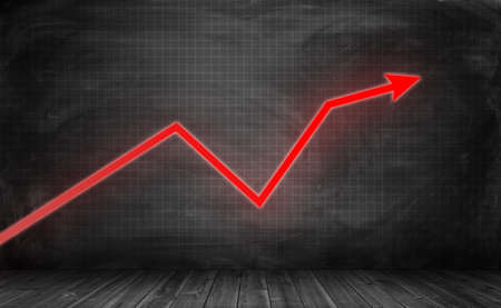 business trending: Upward trending bright red zigzag arrow on the checkered black wall with the black wooden floor beneath. Charts and statistics. Enterprise analytics. Business development and success. Stock Photo