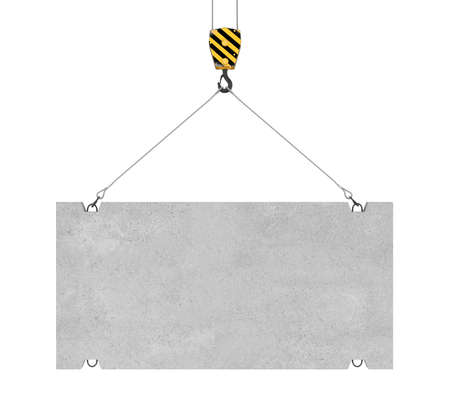 3d rendering of concrete slab hanging on a hook with two ropes isolated on the white background. Building industry. Building materials. Materials transportation. Stok Fotoğraf - 67718030