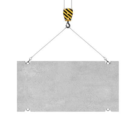 3D-rendering van betonplaat hangen op een haak met twee touwen die op de witte achtergrond. Bouwnijverheid. Bouwmaterialen. Materialen vervoer. Stockfoto