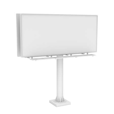 outdoor blank billboard: 3d rendering of one large white blank steel roadside billboard with no ads isolated on white background. Outdoor advertizing. Highway structures and elements. Marketing and promotion.