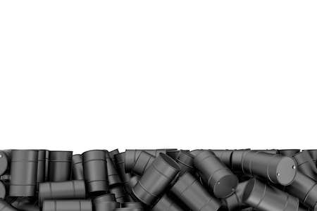 Rendering large pile of black oil barrels isolated on white background