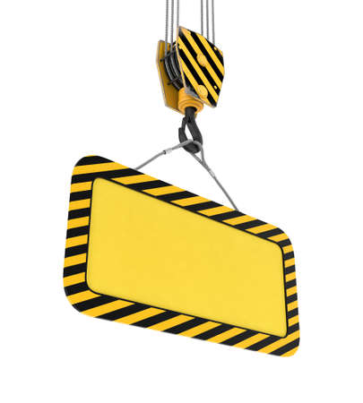 lug: Rendering of yellow board hanging on hook with two ropes